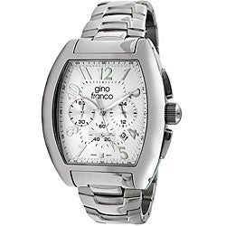 Gino Franco Men's Stainless-Steel Chronograph Watch with White Dial