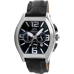 Gino Franco Men's Leather-Strap Three-Dial Chronograph Watch