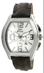 Gino Franco Men's Stainless Steel Leather Strap Watch - Thumbnail 1