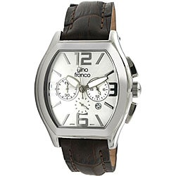 Gino Franco Men's Stainless Steel Leather Strap Watch