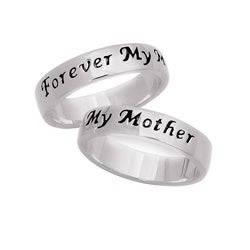 Sterling Silver 'Forever My Mother' Sentiment Ring