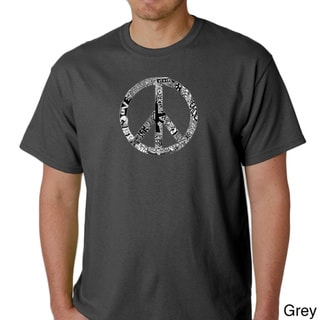Link to Los Angeles Pop Art Men's 'Peace, Love and Music' T-shirt Similar Items in Shirts
