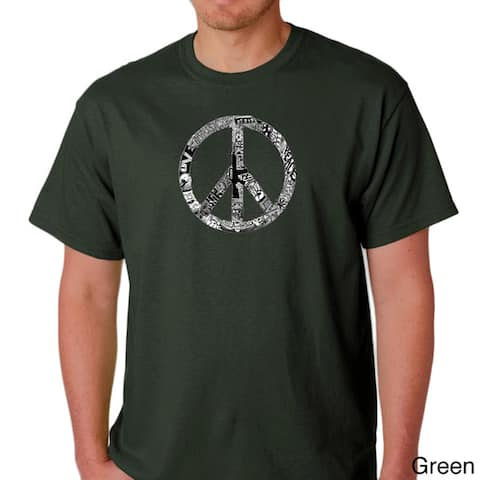 Los Angeles Pop Art Men's 'Peace, Love and Music' T-shirt
