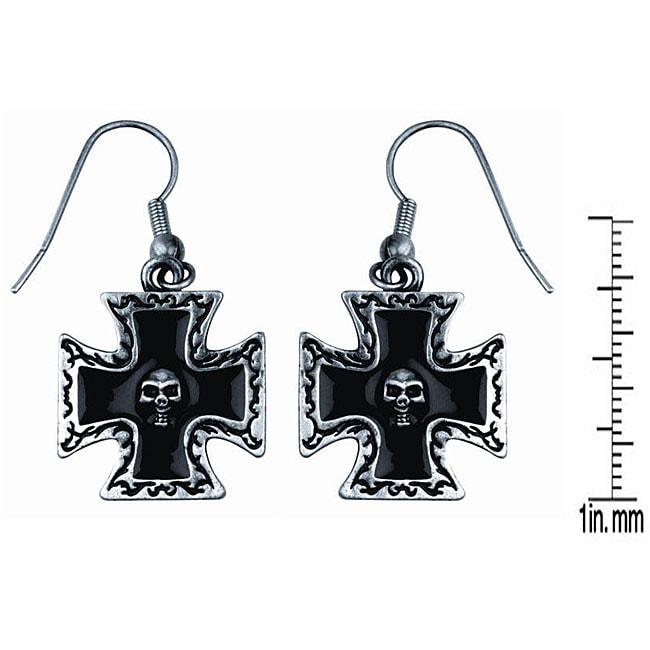 Pewter Iron Cross with Skull Earrings