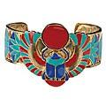 Pewter Winged Scarab Bangle Bracelet
