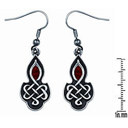 Pewter Red Crystal Celtic Love Knot Earrings