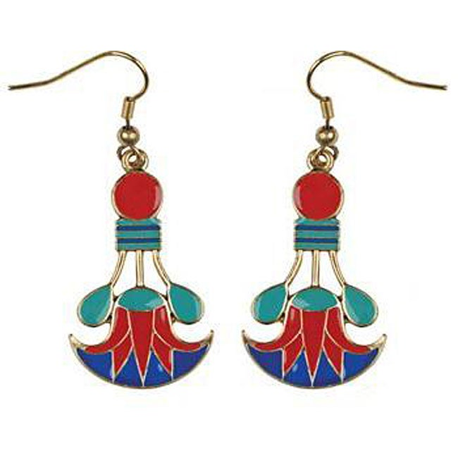 Pewter Cleopatra Lotus Earrings