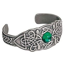 Pewter Celtic Shield Green Crystal Bangle Bracelet