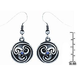 Pewter Blue Crystal Round Celtic Spiral Earrings