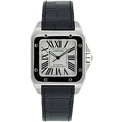 Cartier Men's Santos Black Leather Strap Watch