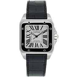 Cartier Men's Santos Black Leather Strap Watch