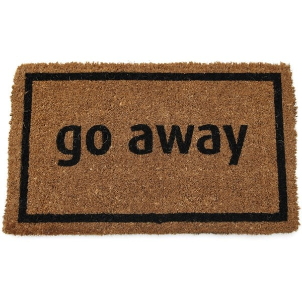 "Black Coir 'Go Away' Door Mat 18"" x 30"""