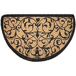 Half Round Coir Iron Design Extra-thick Door Mat (1'6 x 2'6)