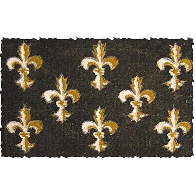 Black Fleur De Lis Coconut Fiber Extra thick Door Mat 1 6 x  Black Fleur. fleur de lis bath rug   Roselawnlutheran