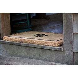 Black Coir Fleur de Lis 18x30 Extra-thick Door Mat