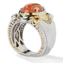 Michael Valitutti 18k Vermeil/ Palladium/ Silver Bamboo Coral Ring