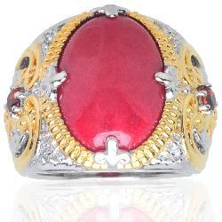 Michael Valitutti 18k Vermeil/ Palladium/ Silver Red Jade and Garnet Ring