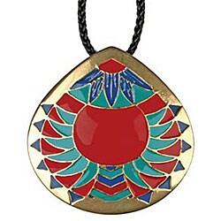 Pewter Chevron Medallion Necklace