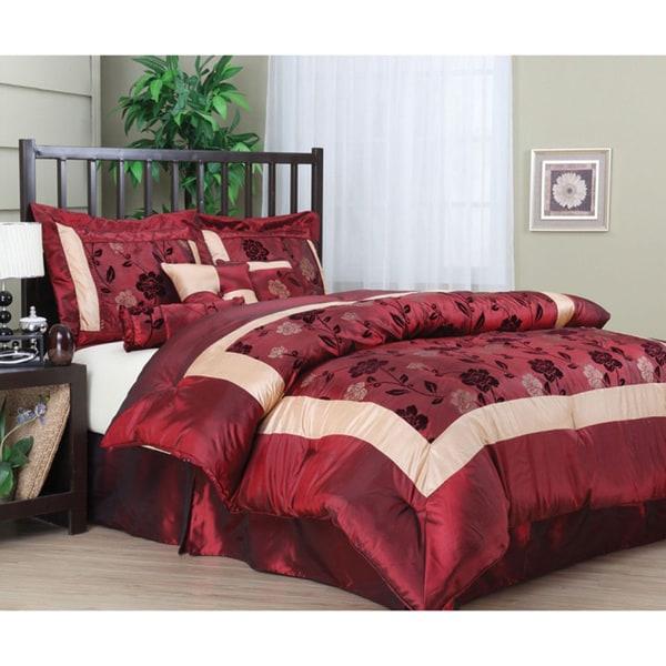 Angela 7-piece Red/ Beige Floral Pattern Comforter Set