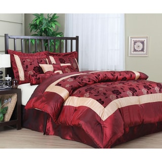 Angela 7-piece Red/ Beige Floral Pattern Comforter Set