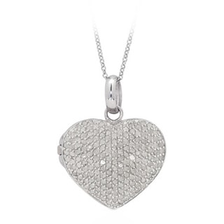 Finesque Sterling Silver 2ct TDW Pave Diamond Heart Locket Necklace with Red Bow Gift Box (J-K, I2-I3)