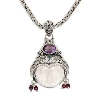 Day Dreamer Hand Carved Bone Purple Amethyst, Blue Topaz, Garnet and 925 Sterling Silver Womens Pendant Necklace (Indonesia)|https://ak1.ostkcdn.com/images/products/4309154/P12285727.jpg?impolicy=medium