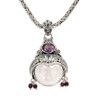 Day Dreamer Hand Carved Bone Purple Amethyst, Blue Topaz, Garnet and 925 Sterling Silver Womens Pendant Necklace (Indonesia)