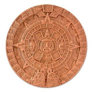 Handmade Ceramic 'Aztec Sun Stone in Terracotta' Plaque (Mexico)
