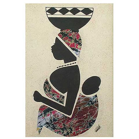 Emmanuel Yeboah 'Milk Seller from the North' Wall Art (Ghana) - Black/Multi-color