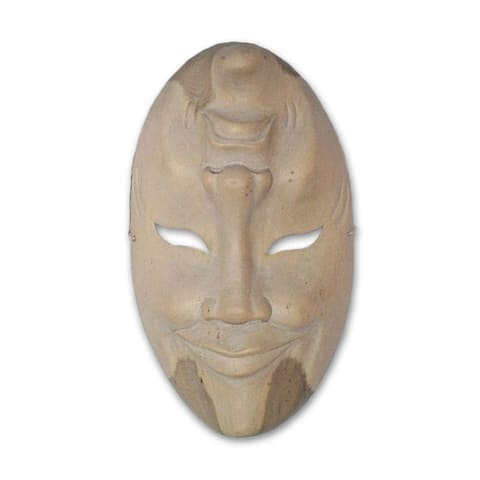 Wood 'Comedy and Tragedy' Mask - White