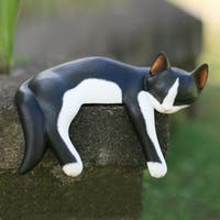 Wood 'Snoozing Tuxedo Cat' Statuette, Handmade in Indonesia
