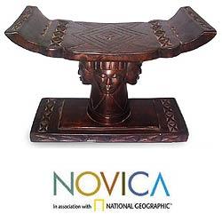 'Four Faces' Wood Throne Ottoman (Ghana)