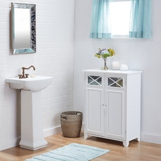 White Wood and Glass Bathroom Linen Cabinet