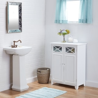 Superbe White Wood And Glass Bathroom Linen Cabinet
