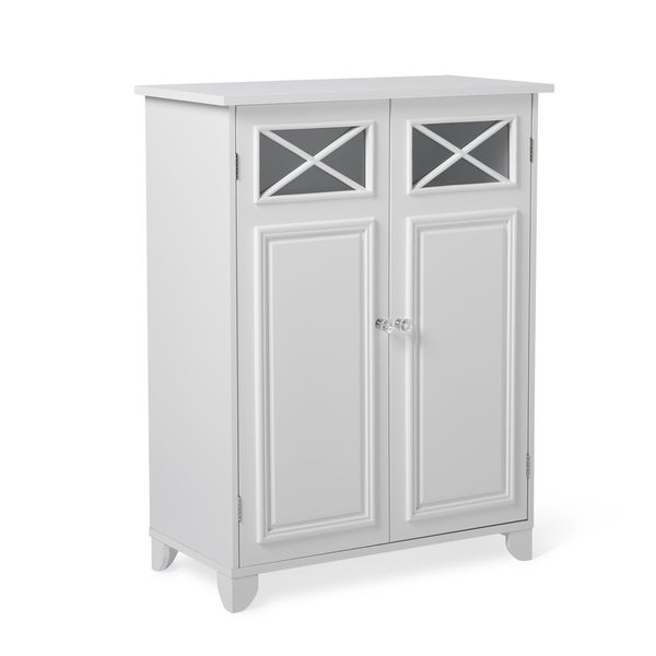 White Wood And Glass Bathroom Linen Cabinet   Free Shipping Today    Overstock.com   12286970