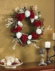 Hydrangea with White Roses 24-inch Wreath - Thumbnail 1