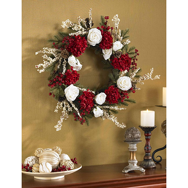 Hydrangea with White Roses 24-inch Wreath