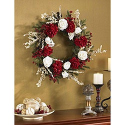 Hydrangea with White Roses 24-inch Wreath - Thumbnail 0