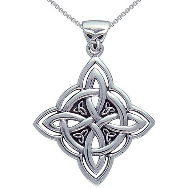Carolina Glamour Collection Sterling Silver Celtic Spiritual Trinity Symbol Necklace - Thumbnail 0