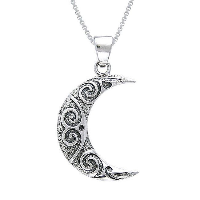 Carolina Glamour Collection Sterling Silver Spiral Moon Celtic Necklace