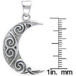 Carolina Glamour Collection Sterling Silver Spiral Moon Celtic Necklace - Thumbnail 2