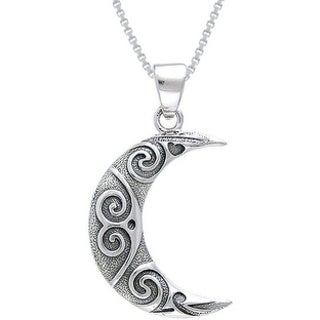 Sterling Silver Spiral Moon Celtic Necklace