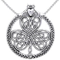 Carolina Glamour Collection Sterling Silver Celtic Heart in Hands Clover Necklace