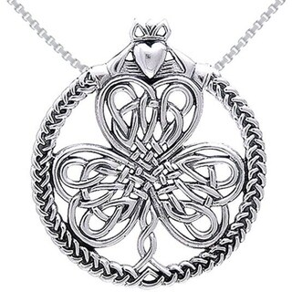 Sterling Silver Celtic Heart in Hands Clover Necklace
