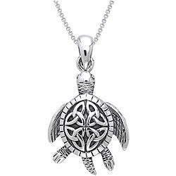 Carolina Glamour Collection Sterling Silver Celtic Turtle Necklace