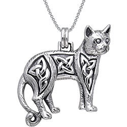 Carolina Glamour Collection Sterling Silver Celtic Cat Necklace
