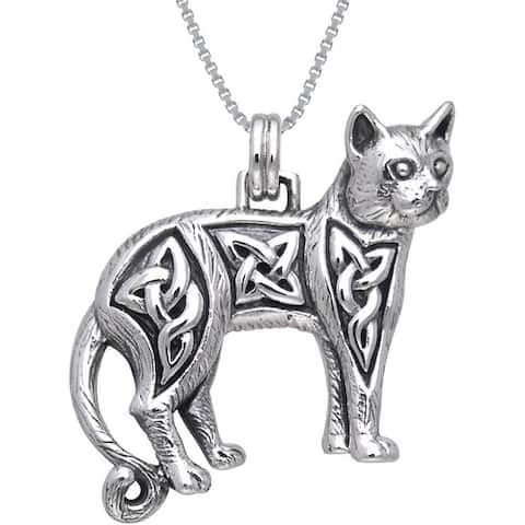Sterling Silver Celtic Cat Necklace