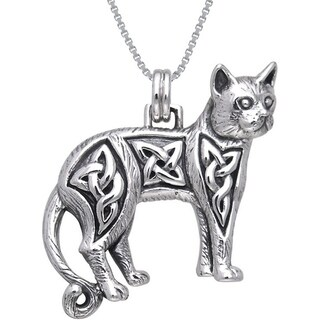 Sterling Silver Celtic Cat Necklace