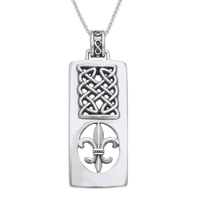 Carolina Glamour Collection Sterling Silver Fleur De Lis/ Celtic knot Necklace