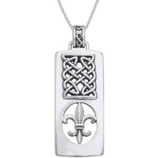 Sterling Silver Fleur De Lis/ Celtic knot Necklace